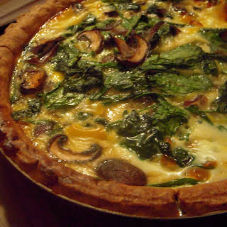 Spinach, Mushroom, And Mozzarella Quiche.
