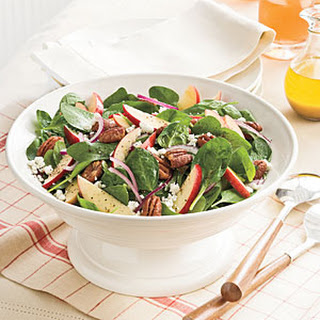 Spinach-Apple Salad With Maple-Cider Vinaigrette.