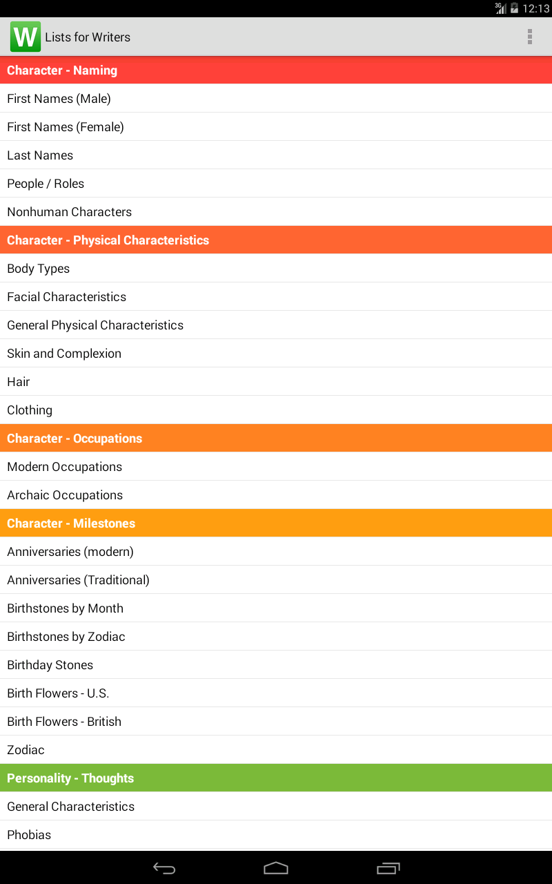 Lists for Writers screenshot #5