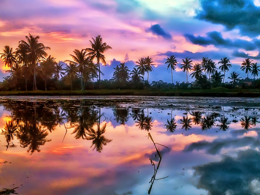 Refleksi Pinky by Randi Pratama M - Instagram & Mobile Android ( clouds, reflection, indonesia, sunset, pink )