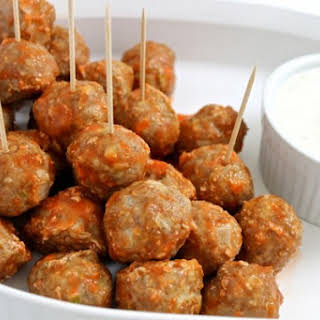 Low Calorie Buffalo Turkey Meatballs with Skinny Ranch Dressing.