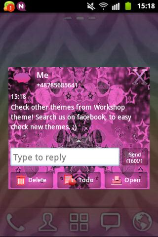 GO SMS Theme Pink Dark Star- screenshot