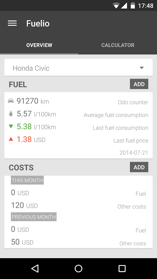 Fuelio: Fuel log & costs - screenshot