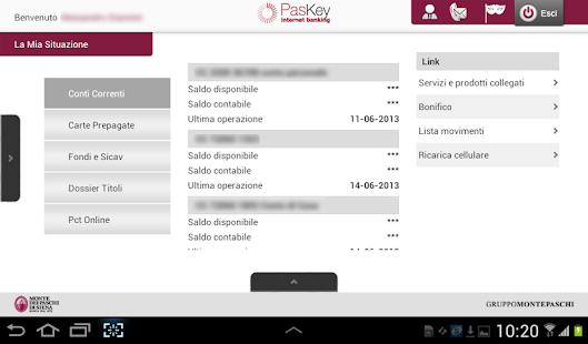 Banca MPS per Tablet - screenshot thumbnail