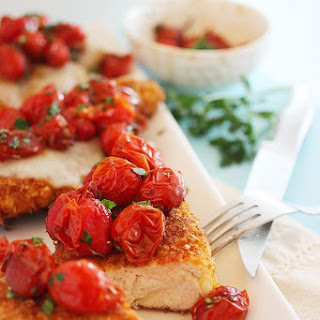 Crispy Parmesan Chicken with Balsamic Roasted Tomatoes.