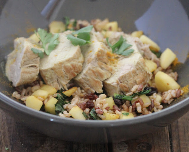 Curried Pork Tenderloin with Fried Rice with Apples and Raisins Recipe