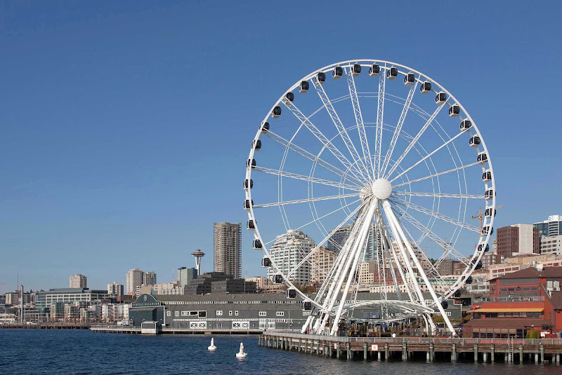The 175-foot-tall Seattle Great Wheel, Elliott Bay's popular new attraction, fits right in with local restaurants and businesses on the pier.