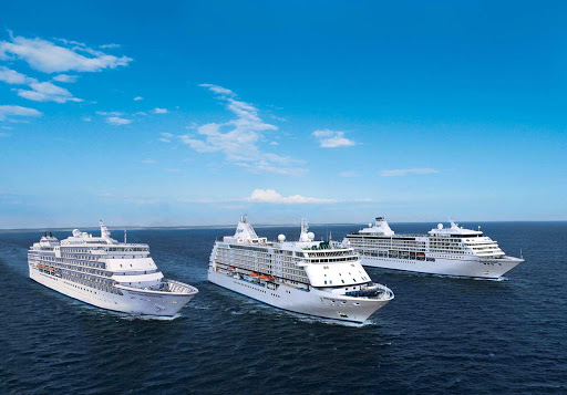 It's triplets! Regent Seven Seas Voyager, Mariner and Navigator sail out to sea.
