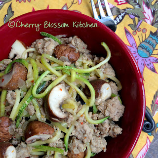 Dijon Zucchini Noodles with Ground Turkey and Mushrooms.