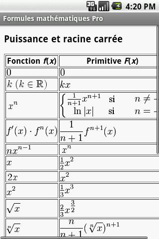 Formules mathématiques - screenshot