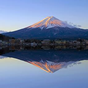 Mount Fuji at Dawn by Paul Atkinson - Landscapes Mountains & Hills ( reflection, dawn, mountain, volcano, nature, mount, fuji, lake, sunrise, scenery, landscape,  )