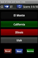 Screenshot of Quiz: Cities and States (USA)