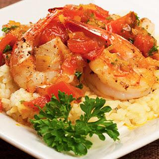 Pan-Seared Shrimp with Saffron-Tomato Sauce.