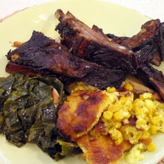 Sticky Pork Ribs With Sweetcorn Pudding And Collard Greens