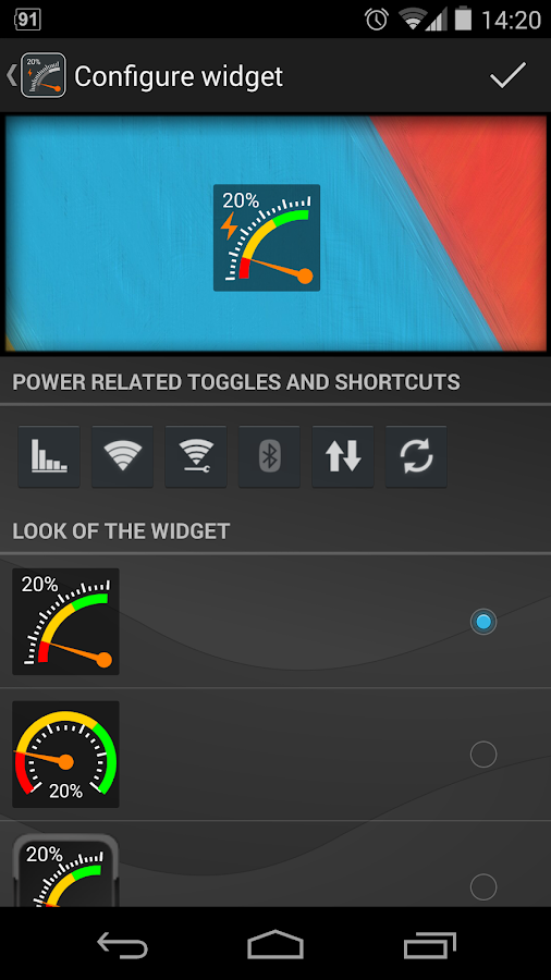Gauge Battery Widget 2014 - screenshot