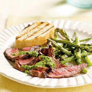 Grilled Steak with Caper-Herb Sauce.