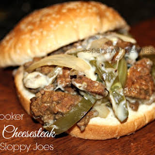Slow Cooker Cheesesteak Sloppy Joes (ground beef).