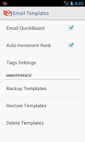 Screenshot of Email Templates
