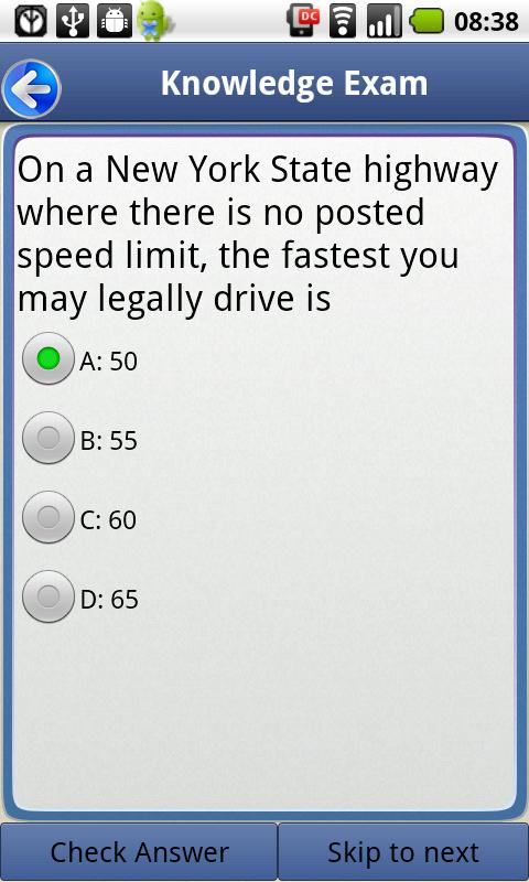 Driver License Test New York: captura de pantalla