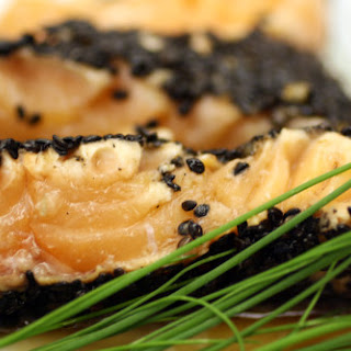 Black Sesame Seed and Sea Salt-Crusted Salmon with Wasabi-Lime Sauce