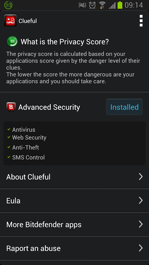 Clueful Privacy Advisor - screenshot