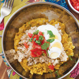Indian Red Lentils with Rice & Hard-Boiled Eggs.