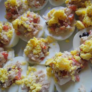 Tuna-Stuffed Hard-Boiled Eggs.