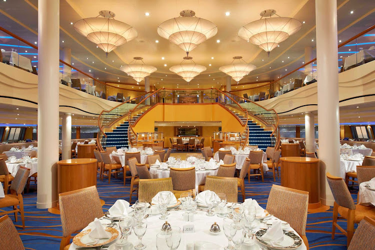 Sail with Carnival Breeze and enjoy a night of exquisite dining in the Sapphire Dining Room.