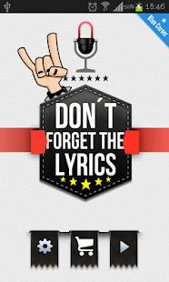 Don't Forget the Lyrics Rock