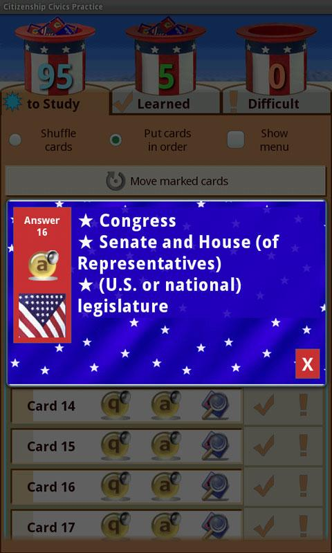 US Citizenship Civics Practice - screenshot