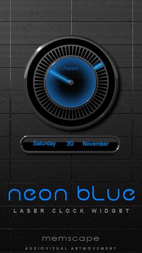 NEON BLUE Laser Clock Widget