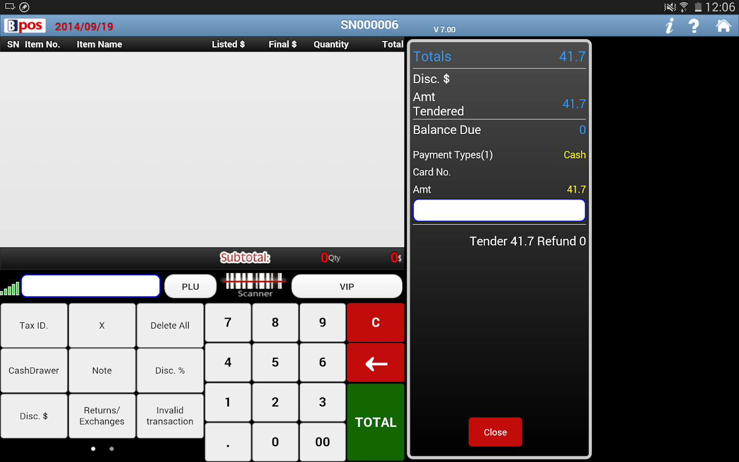 BPOS cloud pos system- screenshot
