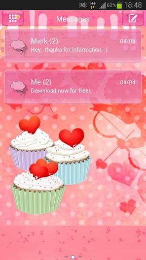 GO SMS Pro Themeのテーマカップケーキ心をGO