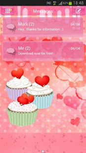 GO SMS Pro Theme cupcake heart - screenshot thumbnail