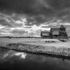 Midley Church, Romney Marsh, England by Dave Byford - Black & White Landscapes ( water, england, englandchurch, #davebyfordphotography, new romney marsh, fileds, river,  )