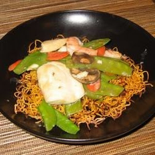 Chinese Noodle Pancakes with Asparagus.