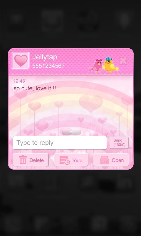 ♥ Cute Birds Love Theme SMS  ♥ - screenshot