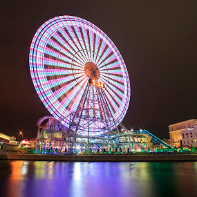 kanransha in motion by Kadek Lana - City,  Street & Park  Amusement Parks ( japan, kanagawa, night, sakuragicho, yokohama,  )