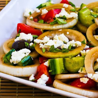 Greek Salad with Marinated Onions and Oregano.