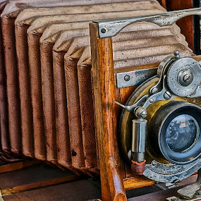 Classic Camera by Barbara Brock - Artistic Objects Antiques ( vintage, , vertical lines, pwc, camera, lens, object )