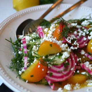 Heirloom Beet & Herb Salad with Goat Cheese and Lemon Vinaigrette