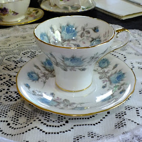 Vintage Aynsley Blue Rose Tea Cup  by ChrisTina Shaskus - Artistic Objects Cups, Plates & Utensils