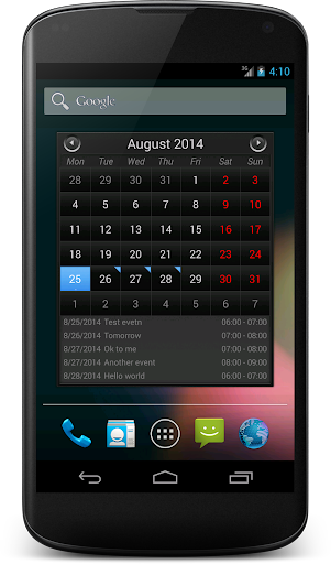 Simple Calendar Widget Black