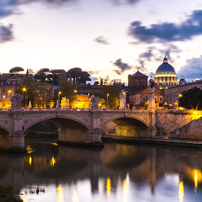 Rome by Stephen Bridger - City,  Street & Park  Neighborhoods ( roma, europe, italia, st. peter's basilica, rome, long exposure, travel, evening, tiber, italy, travel photography, river )