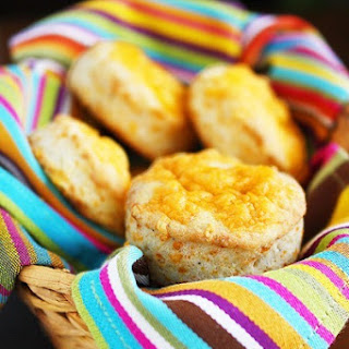 Fluffy Flaky Cheddar Biscuits.