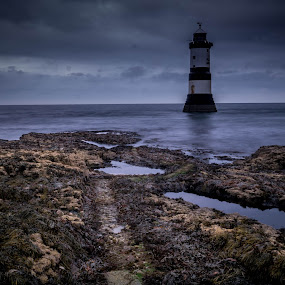 Towyn Du Lighthouse by Kathryn Johnson - Landscapes Waterscapes ( wales, anglesey, seascapes, lighthouse, long exposure )
