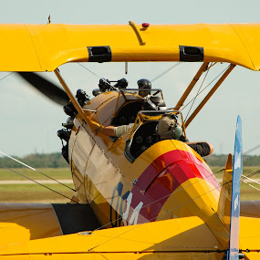 Biplane on the runway by Cliff Dowden - Transportation Airplanes ( airplane, bi-plane )