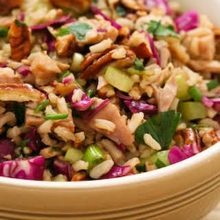 Brown Rice Salad with Leftover Turkey, Red Cabbage, and Pecans.