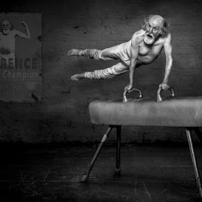 In His Prime by KT Allen - Black & White Portraits & People ( champion, old, montage, horse, art, digital, composite, gymnast, muscles, poster, beard, gym, swing, man )