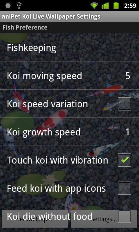 aniPet Koi LiveWallpaper - screenshot